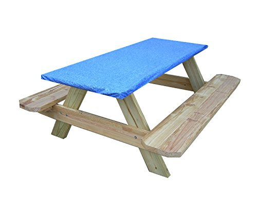 Fitted Picnic and Banquet Table Cover Blue (Benches Banquet)