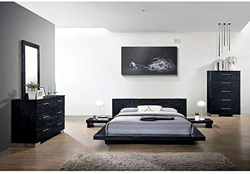 Amazon Com Esofastore Contemporary Look Black Finish Bedroom Furniture 4pc California King Size Bed Set Furniture Decor