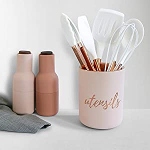 Pink and Copper Cement Utensil Holder and Organizer - Utensil Crocks for Pink Kitchen Decor