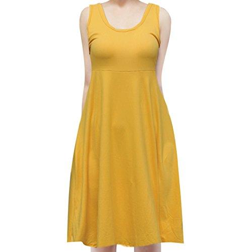 Line Beach SMT Summer A Flowy Sleeveless Dress Midi Yellow Tank Women's wqrxXqap0