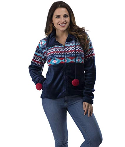 TrailCrest Ultra Soft Women's Full Zip Jacket, Plush Fleece with Velvety Silk Feel, Aztec/Ikat Fun and Trendy Prints 9 Colors