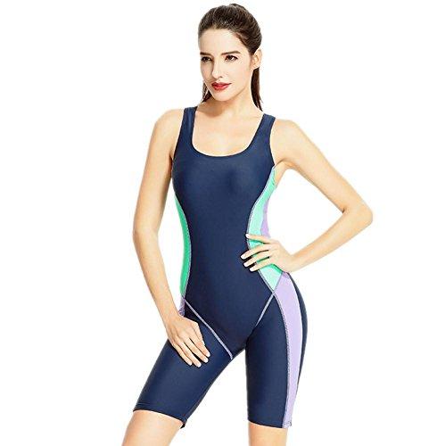ZOYOL-YT Mujeres traje de baño de una pieza plana de cortocircuitos de ángulo Movimiento Profesión de gran tamaño Beach Swimwear Navy
