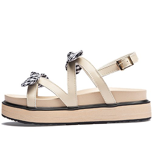 SOHOEOS Sandalias para Mujer Señoras verano Nuevo zapatos con plataforma señoras Bow-Knot Dreamgirl tiras de sandalias hebilla cuña alta Mule Open toe damas sandalias romanas Beige