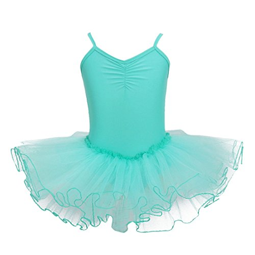 MSemis Girls' Camisole Gymnastic Leotard Dancing Dress Ballet Tutu Skirt Gymnastics Costumes Turquoise (Tango Ballet Costume)