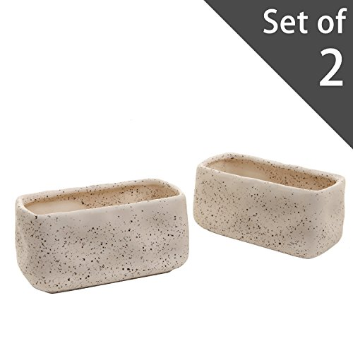 Set of 2 Rustic Rectangular Flower Pot, Ceramic Pottery Planters Window Box Set, White