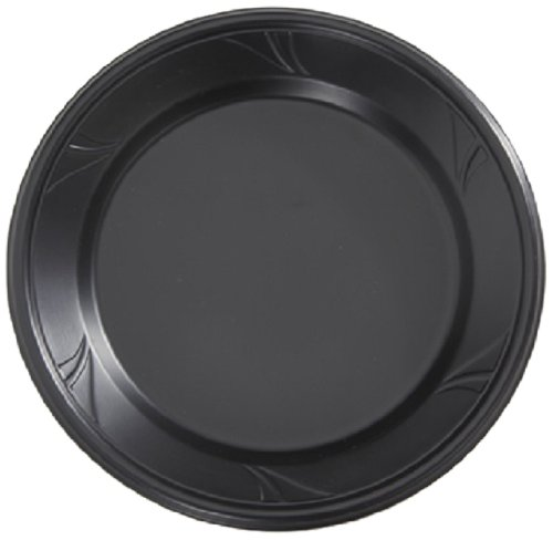 Finesse Microwarmable Round Plate, 6-Inch Diameter, Black (800-Count)