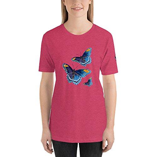 (Bluetiful Butterfly Trilogy T Shirt, Unisex Blue Butterflies Tatto Painted Art)