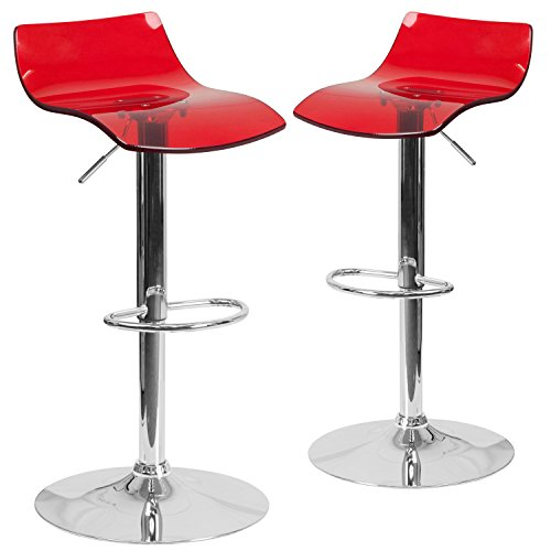 (Flash Furniture 2 Pk. Contemporary Transparent Red Acrylic Adjustable Height Barstool with Chrome Base )