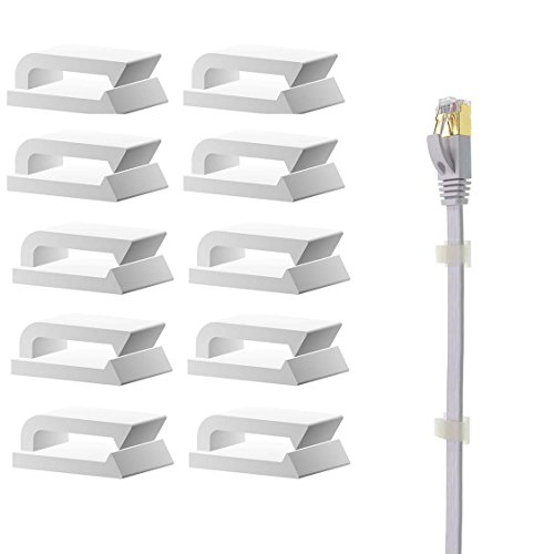 Ethernet Cable Clips Adhesive, 3m Wire Clips Holder, Self Adhesive Wire Clips Management for Home and Office (100 Pieces) ()