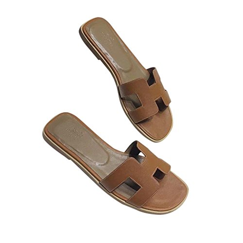 - FT Women's Oran Flat Sandals H Type Leather Slippers Sliders Sandals Summer Casual Shoes Beach Slippers Brown
