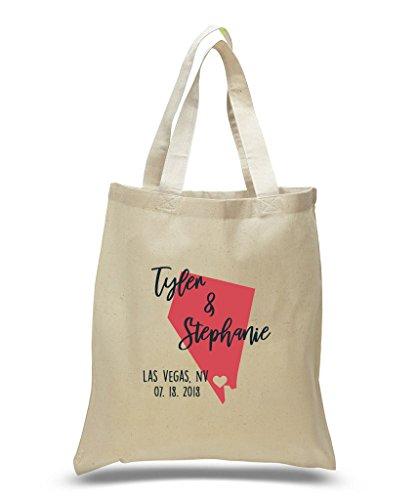 Las Vegas, Nevada Customized Destination Wedding Cotton Tote Bag With - Shopping Nevada Vegas Las