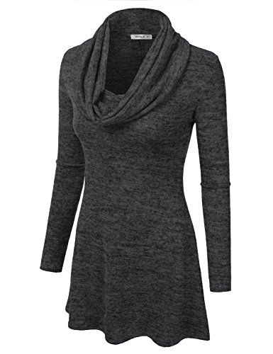 Plus Line Cowl Marled In black Sweater A Size With Doublju Awoswl0180 Top Women USA Tunic Made Neck For Dress R7pwIRqx