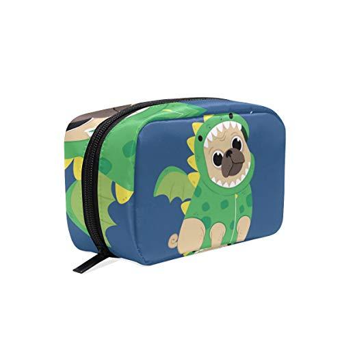 AJINGA Cute Pug Dragon Costume Cosmetic Bag Zipper Toiletry Travel Bag Ladies Square Makeup Brushes Bag ()