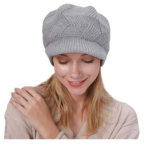 Kolylong Winter Hat Keep Warm Winter Casual Beret Knitted Hat Wool Hemming Hat Thicken Ski Hat