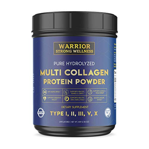 Pure Hydrolyzed Multi-Collagen Protein Powder by Warrior Strong Wellness-High Quality Blend of Grass Fed Beef, Cage Free Chicken, Wild Fish & Eggshell, Keto Friendly- Providing Type I,II,III,V