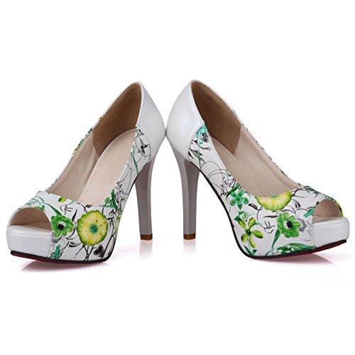 Toe Escarpins green Floral Peep JOJONUNU Femmes qxw4Z0R