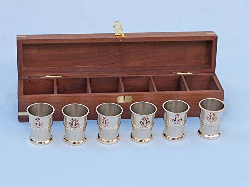 Decorating Shot Glasses Ideas (Hampton Nautical Brass Anchor Shot Glasses with Rosewood (Set of)