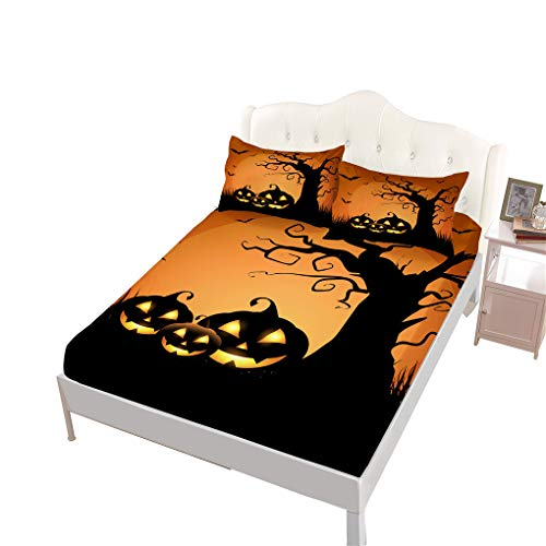 VITALE Full Size Sheet, Halloween Printed Bedding Fitted Sheet Full Size Set, Cartoon Ghost Pumpkin Printed Set of 4 Pieces Full Size Bed Sheets Set Girl's Bedding Decoration]()