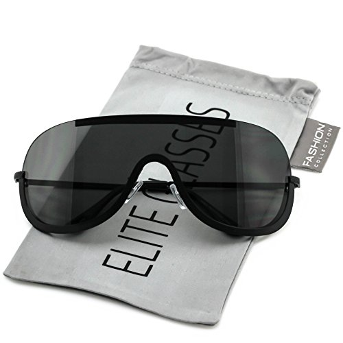 Elite OVERSIZED XX Large SHIELD Half Face Large Size Black Gold Sun Glasses (Black, - Shield Sunglasses For Men