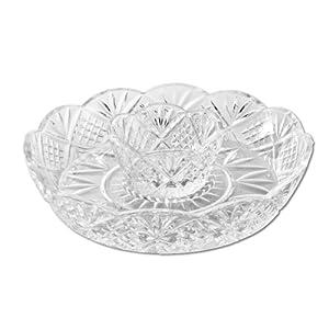 Godinger Crystal Appetizer Serving Platter for Parties Chips and Dip or Snacks Hosting Plate