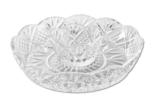 Godinger Crystal Appetizer Serving Platter for Parties Chips and Dip or Snacks Hosting - Crystal Macy's Glasses