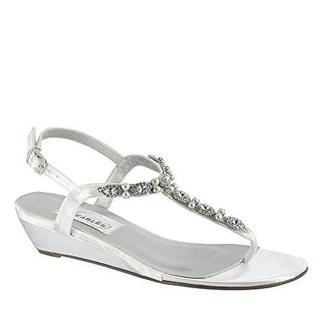Dyeables Women's Myra Leather Dress Sandal,White Satin,12 B US