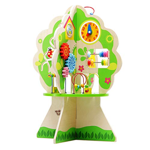 Tooky Toy Early Learning Educational Toys for Kids (3D Wooden Activity Tree) Moving and Sliding Beads, Shapes, Animals, Wheels | Promote Social Play, Fun Bonding | Girls, Boys ()