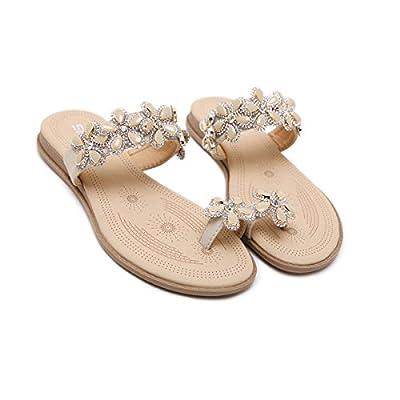 Jazlyn Women's Bohemian Flowers Rhinestones Toe Ring Slide Flat Sandals