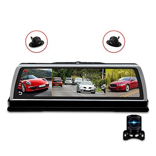 Semoic Consola Central de Coche de 10 Pulgadas con Espejo Dvr Dashcam 4G 4 Canales Adas Android GPS WiFi Fhd 1080P Lente Trasera Grabadora de Video