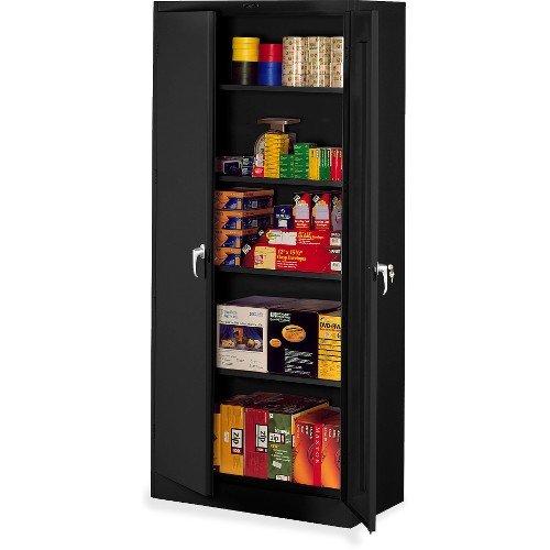 """Tennsco 7824 Heavy Gauge Steel Deluxe Welded Storage Cabinet, 5 Shelves, 200 lbs Capacity per Shelf, 36"""" Width x 78"""" Height x 24"""" Depth, Black"""