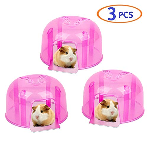 BLSMU Hamster Igloo,Guinea Pig Hideout,Gerbil Hut,Hedgehog House,Mini Igloos,Summer Cooling House for Mouse, Chinchilla, Rat, Dwarf Hamster or Other Small Animals Plastic 3-Pcs