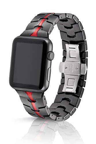 42mm JUUK Ruby Grey Vitero Premium Apple Watch band, made with Swiss quality using aircraft grade hard anodized 6000 series aluminum with a solid stainless steel butterfly deployant buckle (Grey Red) by JUUK