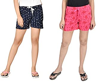 Club A9 Women Cotton Printed Shorts | Lounge Shorts (Pack of 2)
