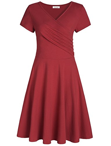 Pintage Women's Surplice V Neck Knee Length Wrap Dress