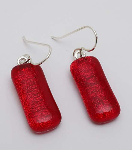 Fused long bright red dichroic glass drop oval earrings. Sterling silver ear wires (Glass Jewelry Dichroic Fused)