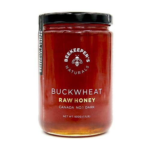 Buckwheat Raw Honey by Beekeeper's Naturals | 500g of 100% Pure, Sustainably Sourced Enzymatic Honey | Gluten Free and Paleo Friendly (Organic Canadian Raw Honey)