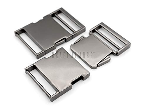 CRAFTMEmore 1 Pc Metal Quick Side Release Buckle Webbing Bag Clip Lock Belt Strap Backpacks Collar - Premium Quality (1 inch, Gunmetal)