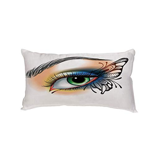 Car Neck Pillow,Eye,Fantasy Womans Eye Make Up Butterfly Wing Vibrant Colors Eyelashes Female Looking Decorative,Multicolor,13.7x7.8Inches,for Car Designed,Travel Car Seat & Home