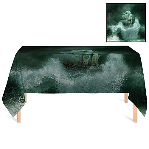 (SATVSHOP Outdoor Tablecloth /36x36 Square,Nautical Old Style Vessel Fighting with The Giant Waves in Thunderstorm Pirates Adventure Paint Green.for Wedding/Banquet/Restaurant.)