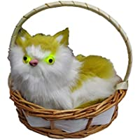 Musical cat with Meow Meow Sound & Eye Light in a Basket