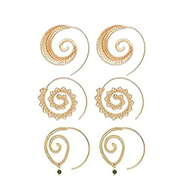 Geerier Spiral Hoop Earrings Set Vintage Tribal Swirl Earrings For Women 3 Pairs/Set
