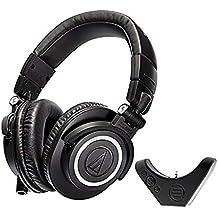 Audio Technica ATH M50x Studio Headphone with East Brooklyn Labs Bluetooth Wireless Adapter. (Renewed)