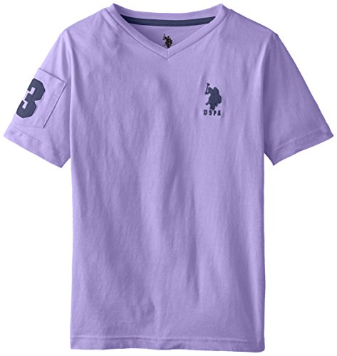 Embroidered Paisley Shirt - U.S. Polo Assn. Little Boys' Solid V-Neck T-Shirt with Large Embroidered Logo, Paisley Purple, 4