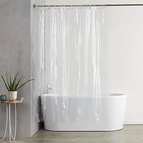 "Amazon Basics Water Resistant Vinyl Shower Curtain Liner with Metal Grommets and Plastic Hooks - 72"" x 72"", Clear"