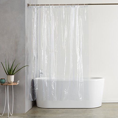 AmazonBasics Heavyweight Clear Shower Curtain Liner with Hooks (20-Gauge, Waterproof and Treated to Resist Deterioration by Mildew) – 72 x 72 inches