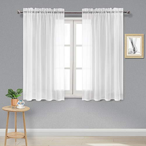 (DWCN Sheer Curtains Linen Look Rod Pocket Kitchen Curtains White Voile Sheer Window Curtain Panels,Set of 2 Panels, 52 x 54 inches Long)