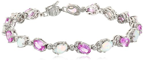 Sterling Silver Created Pink Sapphire, Opal and White Sapphire Bracelet