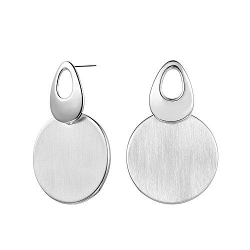 XZP Women's Fashion Alloy Large Disc Drop Earrings Brushed Silver Tone Dangle Earrings Jewelry for Lady