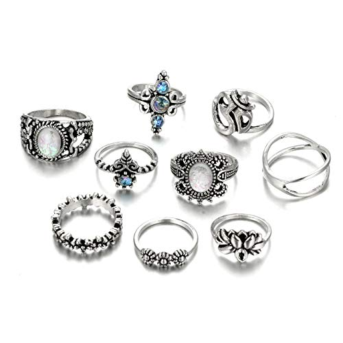 Zealmer OM Ring Set Vintage Lotus Flower Cross Created Crystal Opal Midi Knuckle Ring Set 9 Pieces (Om Symbol Ring)