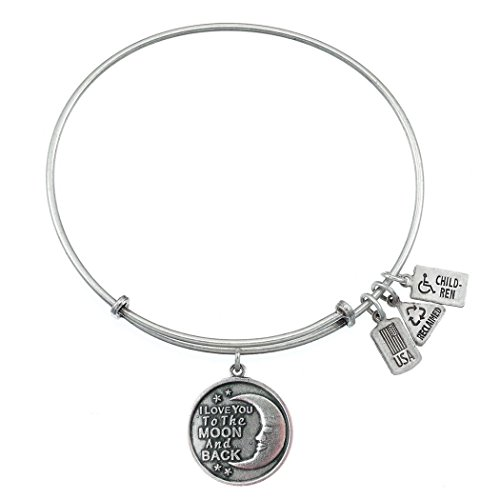 Wind and Fire I Love You To The Moon and Back Charm Bangle Bracelet